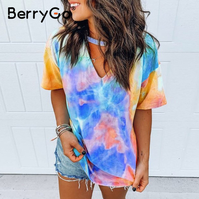 BerryGo Print tie dye V-neck short sleeve shirt women's top Loose wear household women clothing Summer ladies casual shirt 2020