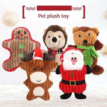 Mordedores de juguete para perros, cachorro, lindo juguete de sonido de dibujos animados, muñeco de peluche Molar de Navidad para perro mascota