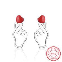 Женские серьги гвоздики в виде сердца из серебра 925 пробы