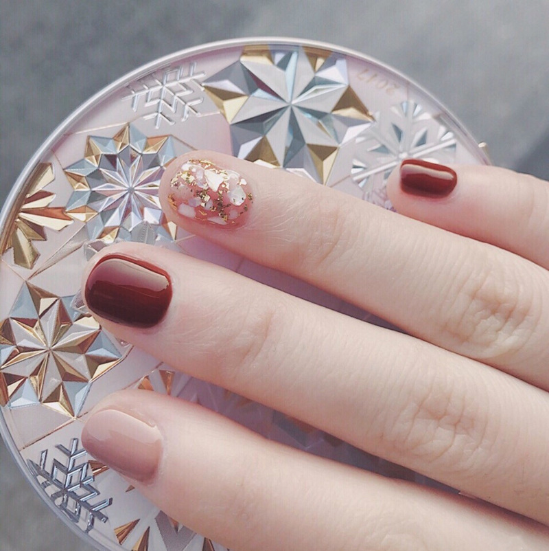 608-Naked Coffee Shell Gold Foil Literature And Art Online Celebrity Style INS-Style Solid Color Fake Nails Finished Product