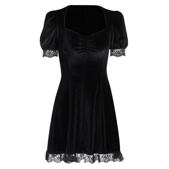 InsGoth-vestido gótico negro de Encaje Vintage, minivestido Sexy de cintura alta, vestido de estética elegante de manga corta de línea A, ropa para fiesta y Club 6