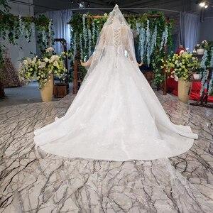 Image 2 - Винтажное свадебное платье HTL966 для невесты, кружевные свадебные платья с коротким рукавом и круглым вырезом, Африканские свадебные платья для женщин 2020 с вуалью, vestido noiva