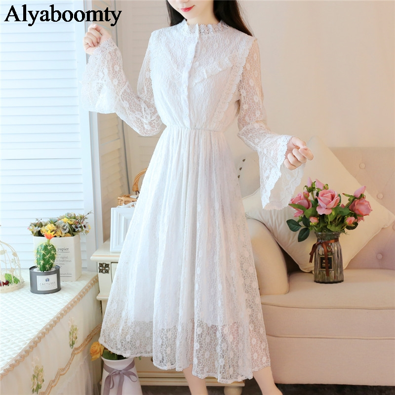 New Mori Girl Autumn Spring Women Long Dress Stand Collar Hollow Out Elegant Chic Dress White Lace Flare Sleeve Party Midi Dress