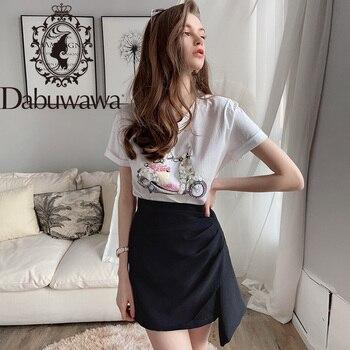 Dabuwawa Solid Asymmetrical Hem Glamorous Skirt Women High Waist Wrap Front Zipper Ladies Sexy Mini Skirts DT1BSK005 knot front pep hem striped top with skirt