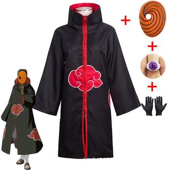 Naruto Tobi Obito przebranie na karnawał Akatsuki z długim rękawem płaszcz Halloween karnawał śmieszne przebranie na karnawał dla dorosłych tanie i dobre opinie Finssy CN (pochodzenie) Wykop mask anime Zestawy Naruto Namikaze Minato Poliester