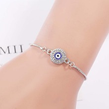 Simple Design Evil Eye Bracelet For Women Gold Silver Color Charm Link Chain Adjustable Bracelets Female Crystal Jewelry Gift