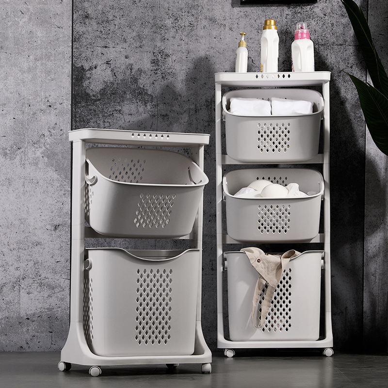 New Dirty Cloth Basket Bathroom Storage Basket Household Laundry Cart Organizer Bucket With Universal Wheel Rack Bathroom Hamper
