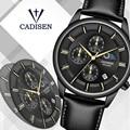 CADISEN 2019 новые мужские часы, мужские часы, Топ бренд, Роскошные Кварцевые часы для мужчин, водонепроницаемые часы для мужчин, Moon phase Relogio Masculino