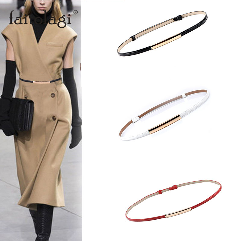 Adjustable Elastic Ladies Dress Waist Belt Slim Leather Women Belt Gold Buckle Black White Blue Skinny Female Belt Pasek Damski