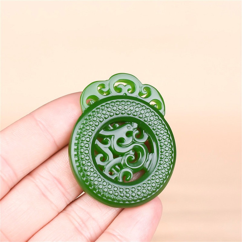 Natural Green Jade Dragon Pendant Necklace Chinese Jewelry Double-Sided Hollow Out Carved Fashion Charm Amulet for Men Women