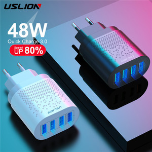 USLION 48W Quick Charge QC 3.0 USB Universal Mobile Phone Charger EU US Wall Fast Charging Adapter For iPhone Samsung Huawei