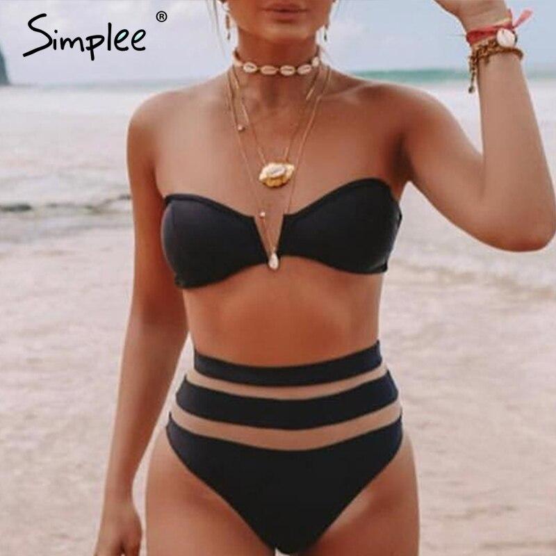 Simplee Sexy 2 Piece Beach Bikini Women Swimwear High Waist Mesh Striped Female Swimwear See Through Black Bodycon Swimsuit 2019