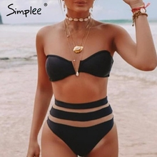 Beach Bikini Swimwear Simplee See-Through High-Waist 2piece Sexy Striped Mesh Women Black