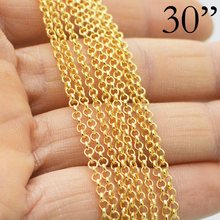 gold 100 pcs - 30 inch Gold Necklace Chain, 30 Inch Gold Chain, Shiny Gold Rolo Necklace Wholesale, Gold Link Chain Necklace