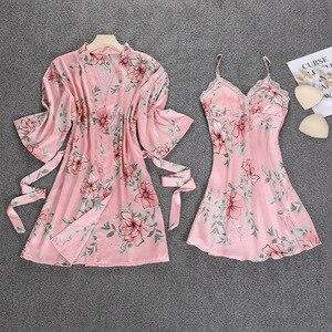 Image 5 - 블랙 봄 새로운 여성 2pcs 가운 정장 슬리퍼 캐주얼 홈 파자마 섹시한 스트랩 Nightwear 수면 기모노 목욕 가운 세트