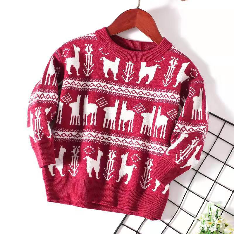 2T-14 Boys Girls Kids 2-Layer Cotton Knitted Pullovers Sweaters Chris Deer S20