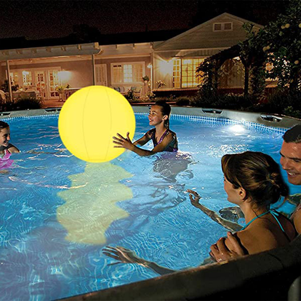 1 PCS Pool Toys Glow 16 Beach Ball 13 Colors Changing LED Light Up Floating Inflatable with Remote Glow in The Dark Home Patio Garden Swimming Party Decorations
