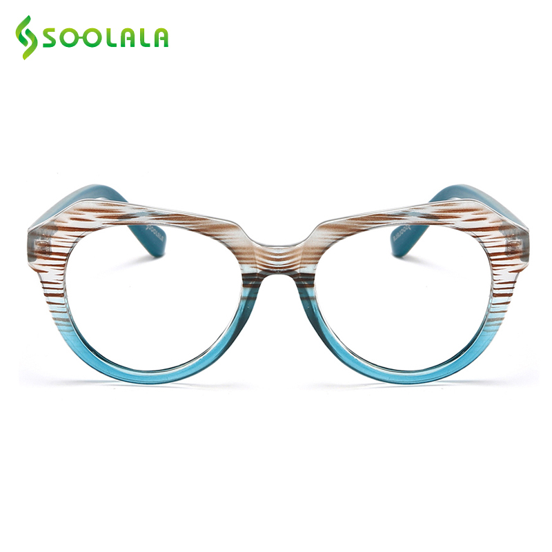 SOOLALA Striped Reading Glasses With Cases Women Men Glasses For Reading Sight Magnifying Presbyopic Glasses