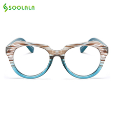 SOOLALA Striped Reading Glasses with Free Gift Chain Women Men For Sight Magnifying Presbyopic