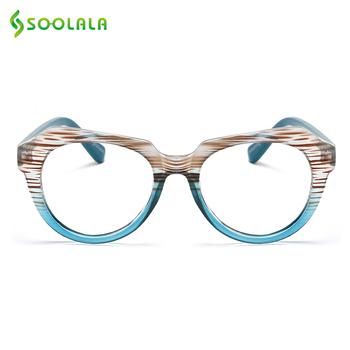SOOLALA paski okulary do czytania w przypadkach kobiety mężczyźni okulary do czytania wzrok powiększające okulary do czytania tanie i dobre opinie WOMEN Jasne Gradient 49-796 4 4cm Poliwęglan Z tworzywa sztucznego Striped Reading Glasses With Free Gift Glasses Chain