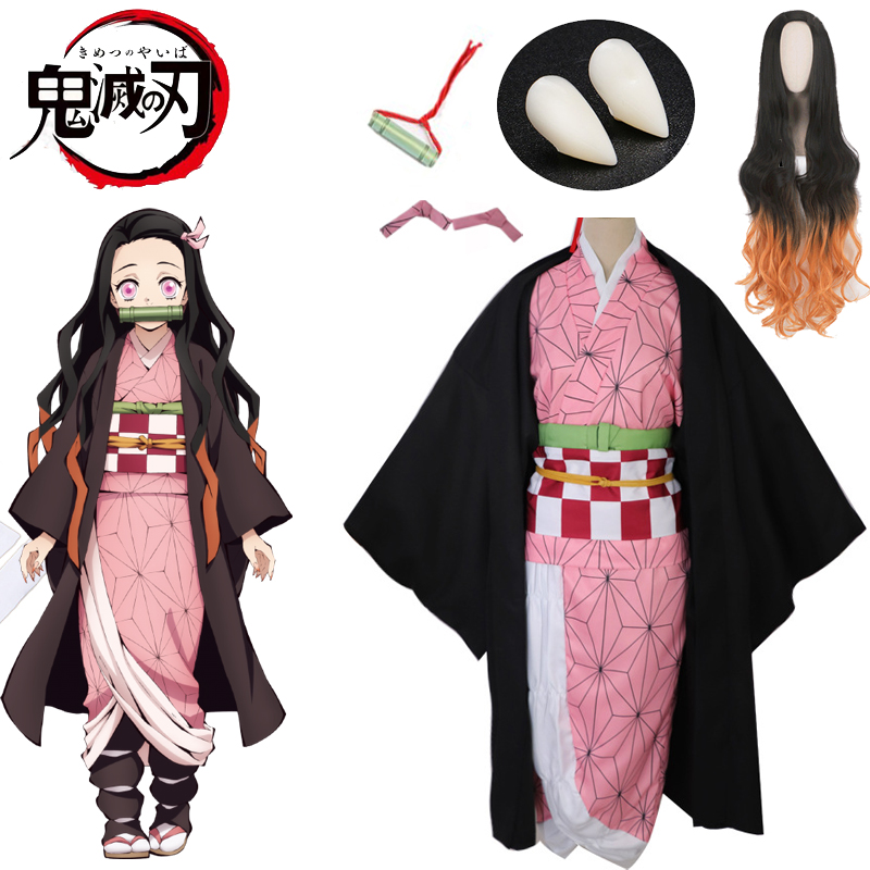 Kamado Nezuko Costumes Demon Slayer Kimetsu No Yaiba Kimono Wigs Women/girls Halloween Cosplay Costume