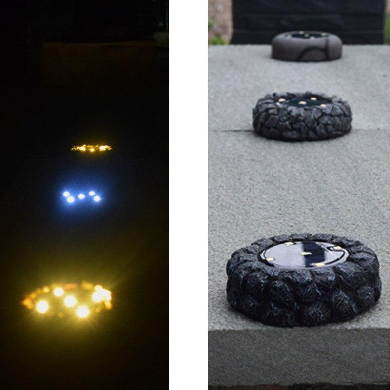 Işıklar ve Aydınlatma'ten Sokak Lambaları'de 4 adet/takım simülasyon arnavut kaldırımı ışık LED güneş enerjili zemin sokak ışıkları su geçirmez bahçe çim için M25 title=