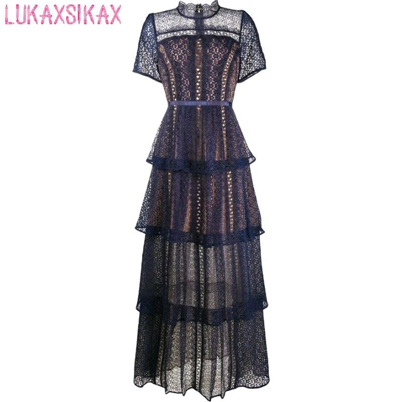 2020 New Women Summer Dress Elegant Vintage Hollow Out Chemical Lace Runway Dress Multi-layer Cake Hem Long Dress