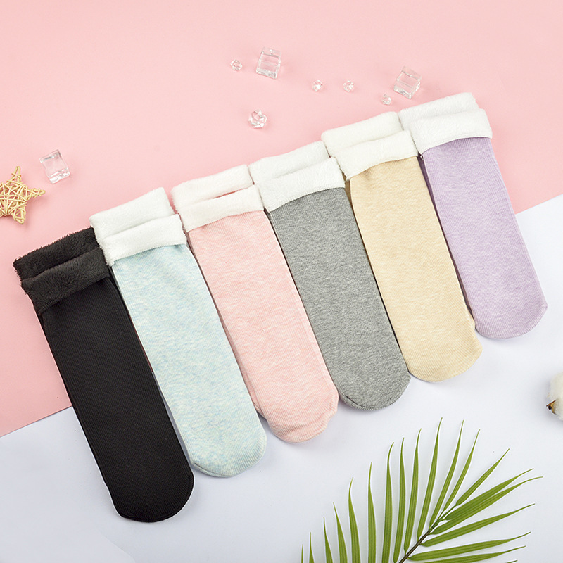1 Pair Of NEW Autumn And Winter Pure Color Plush Cotton Socks Warm, Comfortable And Fashionable Women's Pure Cotton Socks
