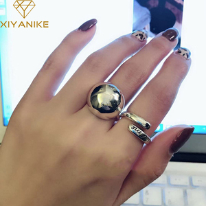 XIYANIKE 925 Sterling Silver Large Ball Smooth Frosted Wire Drawing Rings for Women Vintage Simple Party Jewelry Gifts 2020 New