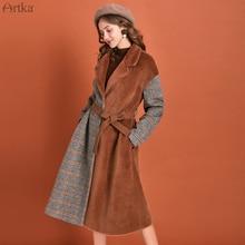 ARTKA 2019 invierno nuevo abrigo de lana para mujer Vintage a cuadros de lana falso pelo de Marta abrigo grueso ropa larga caliente con cinturón FA10098D