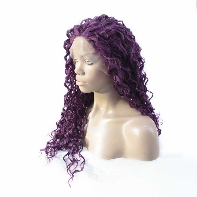 Lila Farbe Lose Lockige Spitze Front Perücke Mode Pastell Perücken Für Frauen Hohe Qualität Günstige Synthetische Spitze Vorne Perücke Wärme beständig