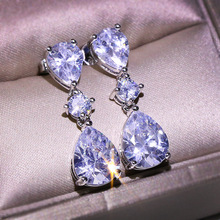 Cute Silver Stud Earrings with Big Waterdrop Zircon Stone for Women Fashion Jewelry Korean 2019 New