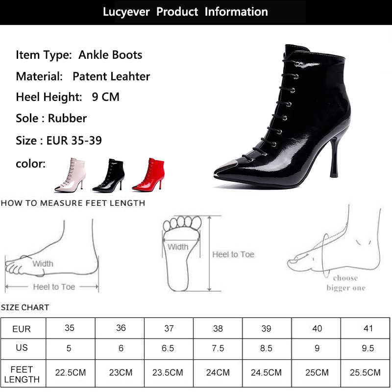 Lucyever 2019 ฤดูใบไม้ร่วงฤดูหนาวรองเท้าส้นสูงรองเท้าผู้หญิงสิทธิบัตรหนังข้อเท้ารองเท้าบูทเซ็กซี่ Pointed Toe CROSS ผูกรองเท้าส้นสูง party BOOTS