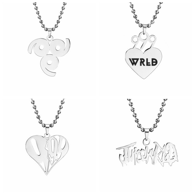 2020 Fashion Heart Pendant Rapper Juice WRLD Necklace Beaded Chain Stainless Steel 999 Wrld Necklaces Gift for Men <font><b>Fans</b></font> <font><b>Jewelry</b></font> image