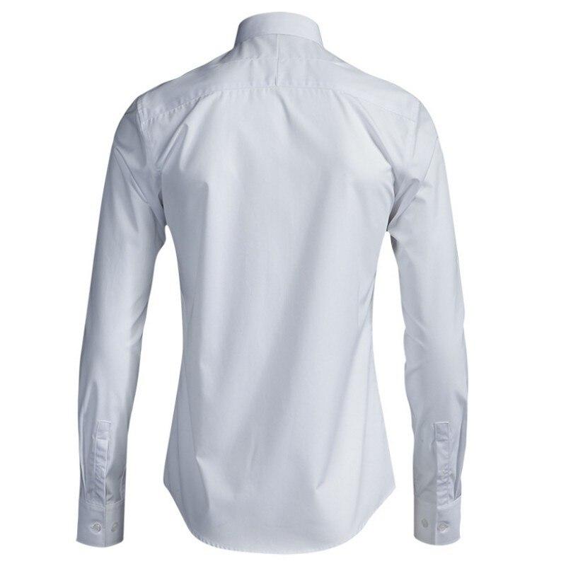 2020 New Autumn Bird Embroidery Shirts Men Elegant Slim Square Collar Long Sleeve Cotton Shirts Fashion Casual Black White Tops