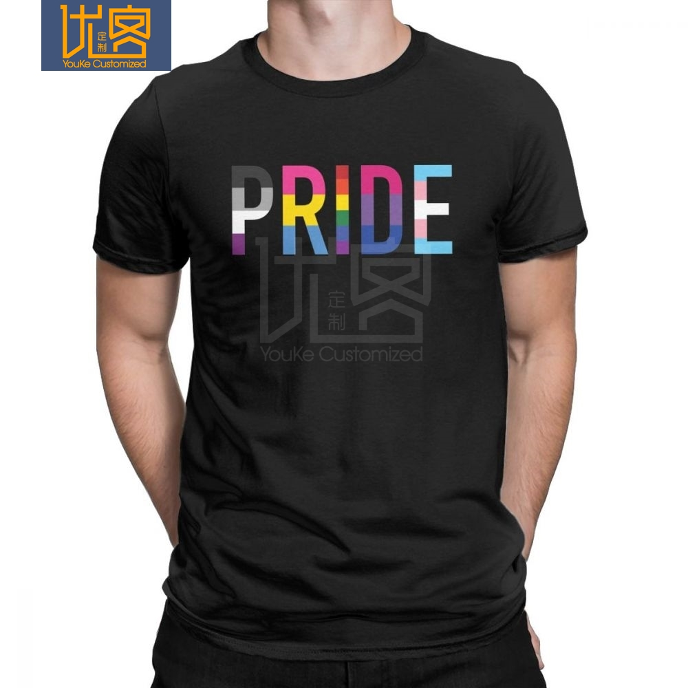 Gay Pride LGBT T Shirt for Men Lesbian Homosexual Asexual Pansexual <font><b>Bisexual</b></font> Printed <font><b>Tops</b></font> T-Shirt Crew Neck 100% Cotton Tees image
