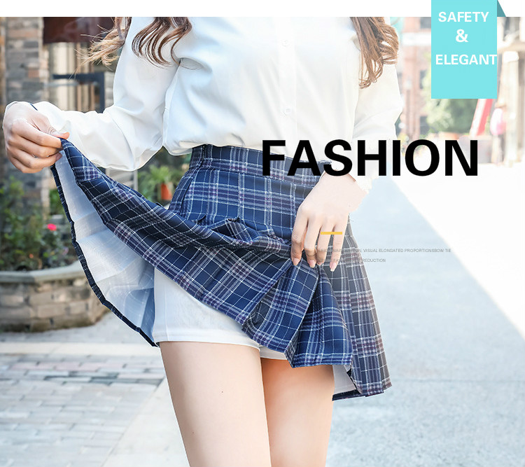 XS-XXL High Waist A-Line Women Skirt Striped Stitching Sailor Pleated Skirt Elastic Waist Sweet Girls Dance Skirt Plaid Skirt 79