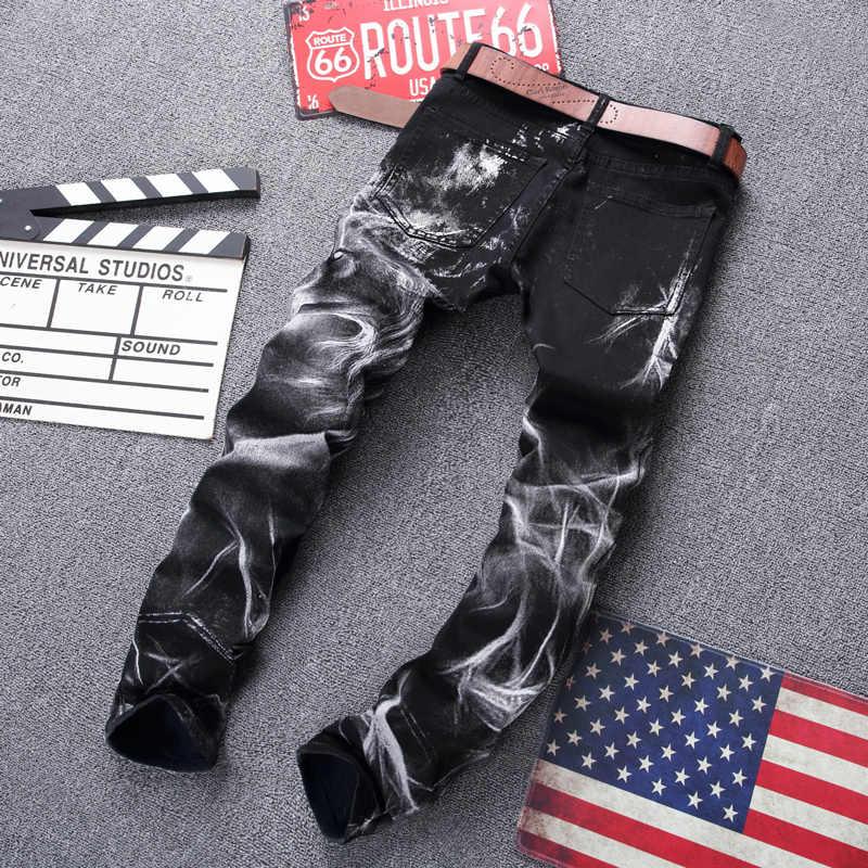 Mode Streetwear Männer Jeans Schwarz Farbe Slim Fit Elastische Wolf Gedruckt Designer Jeans Männer Punk Hosen Stretch Hip Hop Jeans homme