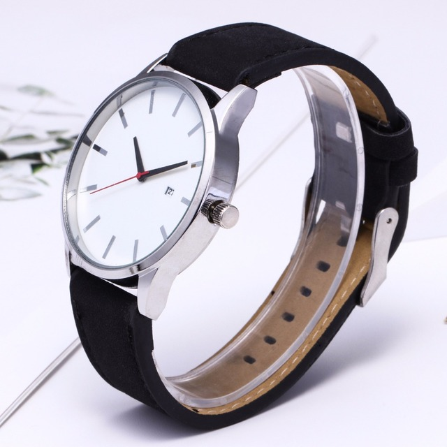 Large Dial Quartz Leather Business Casual Wristwatch 4