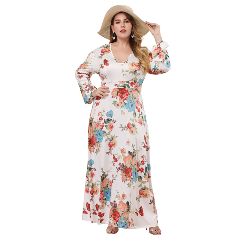 2044 42 De Descuentoestampado Suelto Sexy Bohemio Vestidos De Playa Elegante Casual De Manga Larga Maxi Vestido De Pasarela Talla Grande Verano