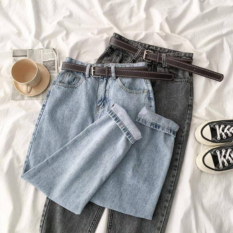 Vintage Straight High Waist Jeans Women Boyfriend Mom Streetwear Denim Jeans With Belt 2020 Casul Loose Plus Size Denim Trousers