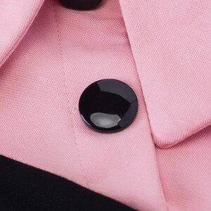 Image 5 - Nizza sempre Elegante Vintage Equipaggiata abito invernale Rappezzatura del Manicotto pieno Turn giù il Collare Button Guaina Affari Vestito Aderente b238