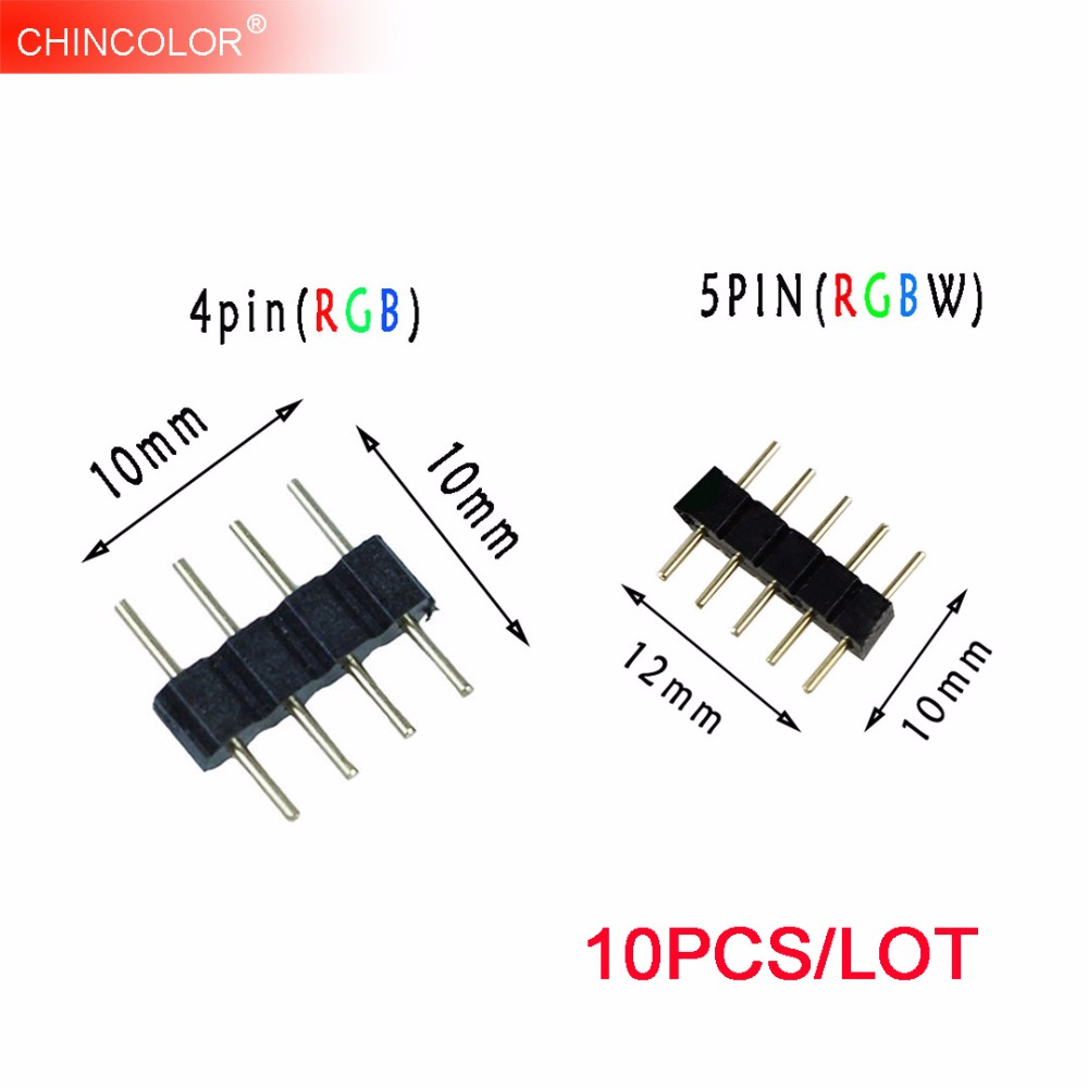10PCS 4 Pin 5Pin Needle RGB RGBW Connector Adapter Male Double Insert For RGB RGBW 5050 3528 LED Strip Light Long Lifespans Q