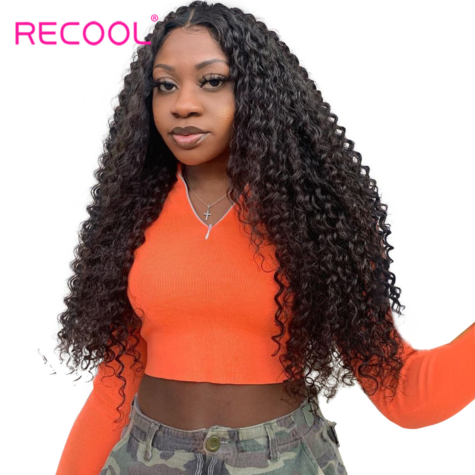 Recool Pre Plucked Full Lace Wigs Human Hair With Baby Hair Glueless Brazilian Kinky Curly Wig