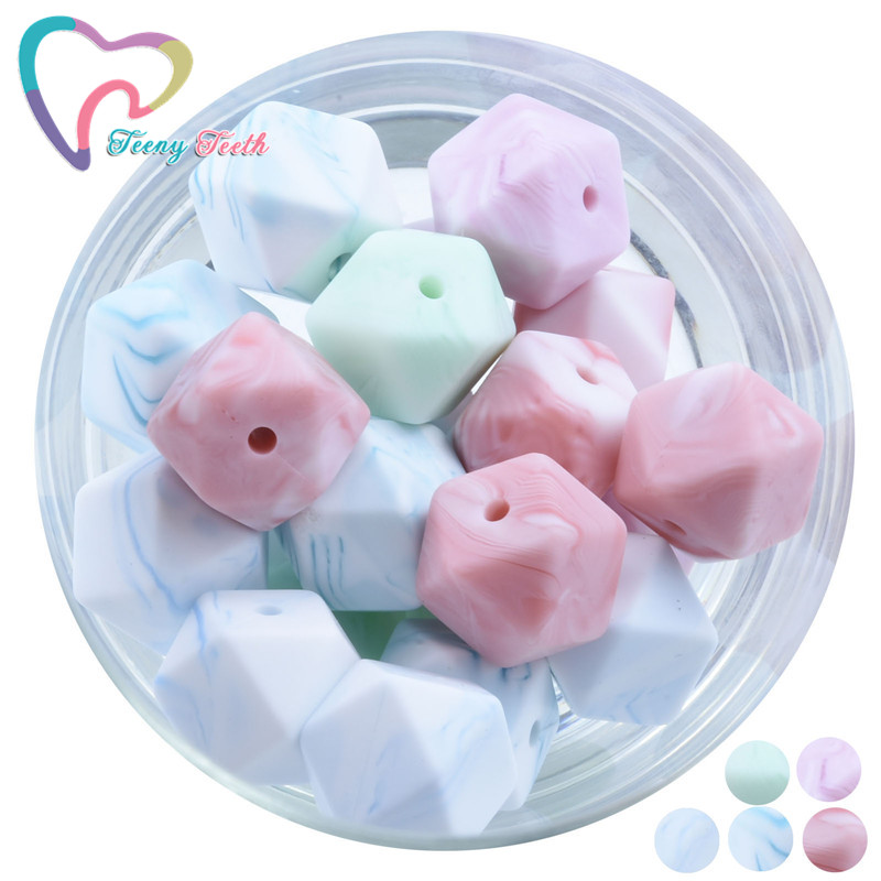 20 PCS Marble Colors Series 14 MM Silicone Beads BPA Free Hexagon Beads Food Grade Silicone Teether DIY Teething Beads Necklace