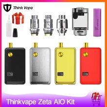 Pense vape zeta aio 60w pod vape kit alimentado por único 18650 caixa de bateria mod 3ml tanque e cigarro grande fumaça atomizador