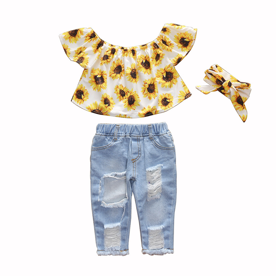 Summer Baby Girls Clothes Sets Toddler Newborn Outfits Off Shoulder Sunflowers Tops+Denim Jeans Pants babyborn roupa infantil 1