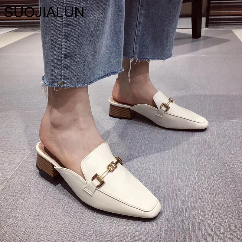 SUOJIALUN Women Mules Slippers 2020 New Arrival Slip On Flat Heel Casual Mules Shoes Wooden Block Heel Summer Buckle Slides