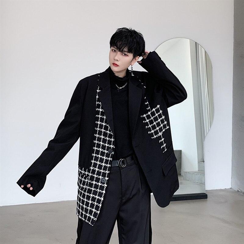 Male Japan Harajuku Streetwear Suit Blazer Coat Outerwear Stage Show Clothes Men Vintage Plaid Splice Loose Casual Suit Jacket