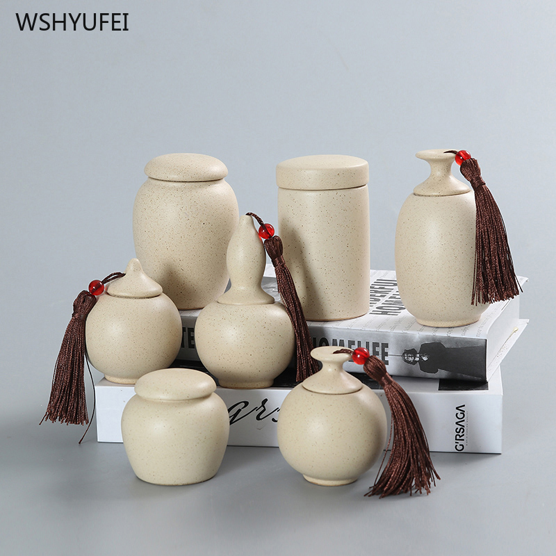 Ceramic Small Tea Cans Portable Small Jars Of Tea With Small Porcelain Bottles Mini Sealed Storage Packaging Empty Boxes
